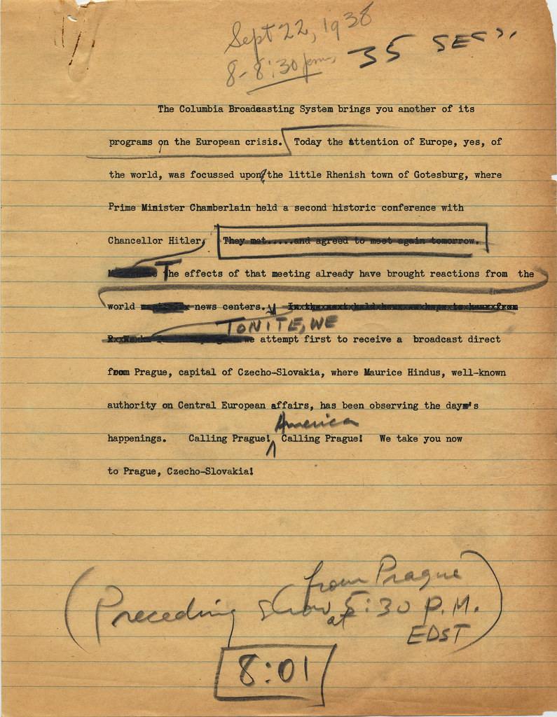Robert Trout hand-edited broadcast script, 1938 | Dolph