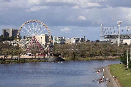 Ferris wheel setup at Birrarung Marr