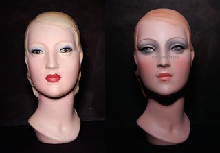 Art Deco millinery bust before & after