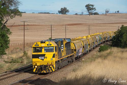 ssr101 ssrclass emd diesel downeredi ssr southernshorthaulrailroad georgewestonsfood graintrain freighttrain westons temora 3142 morrisonshill