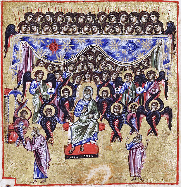 Vision of Isaiah: God in majesty surrounded by Seraphim, Cherubim, Archangels and other angels
