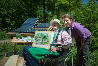 Grandpa Don Showing Off Painting of our Cottage w/Tara | by goingslowly