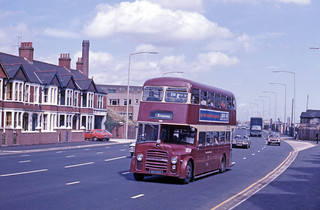 Cardiff Corporation's Leyland PD3A/1 404 CKG in Cardiff, Wales, United Kingdom.