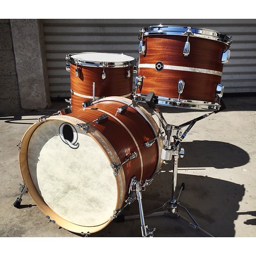 """Here is a beautiful little bop kit. 18"""", 12"""", 14"""". Satin Mahogany/Poplar/Mahogany with antique white marine pearl inlays. Can't go wrong with the M/P/M. Works for all occasions. #qdrumco #mahogany #drums   by QDrumCo"""