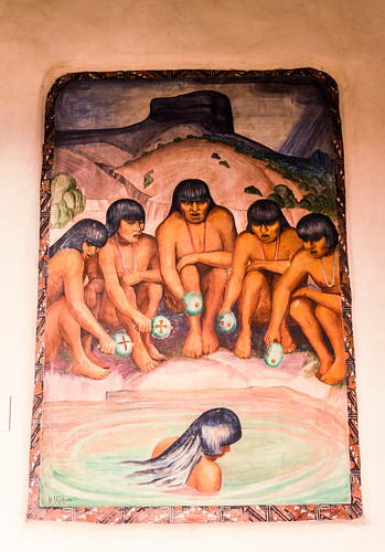 thevoiceofthewater zajdowicz santafe newmexico usa leica lightroom art mural fresco outdoor outside courtyard newmexicomuseumofart willshuster artist wpa artistsproject greatdepression nativeamerican scene people federalemergencyreliefadministration fera puebloindians set travel americansouthwest painting creativecommons
