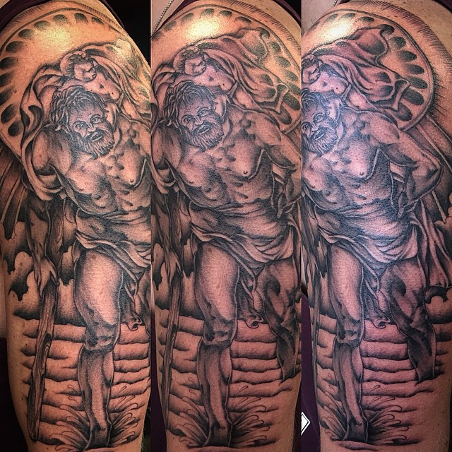 d55056ca52d5f ... st Christopher half sleeve done today #thanks #tattoo #tattoos | by  Brotherhood Tattoo
