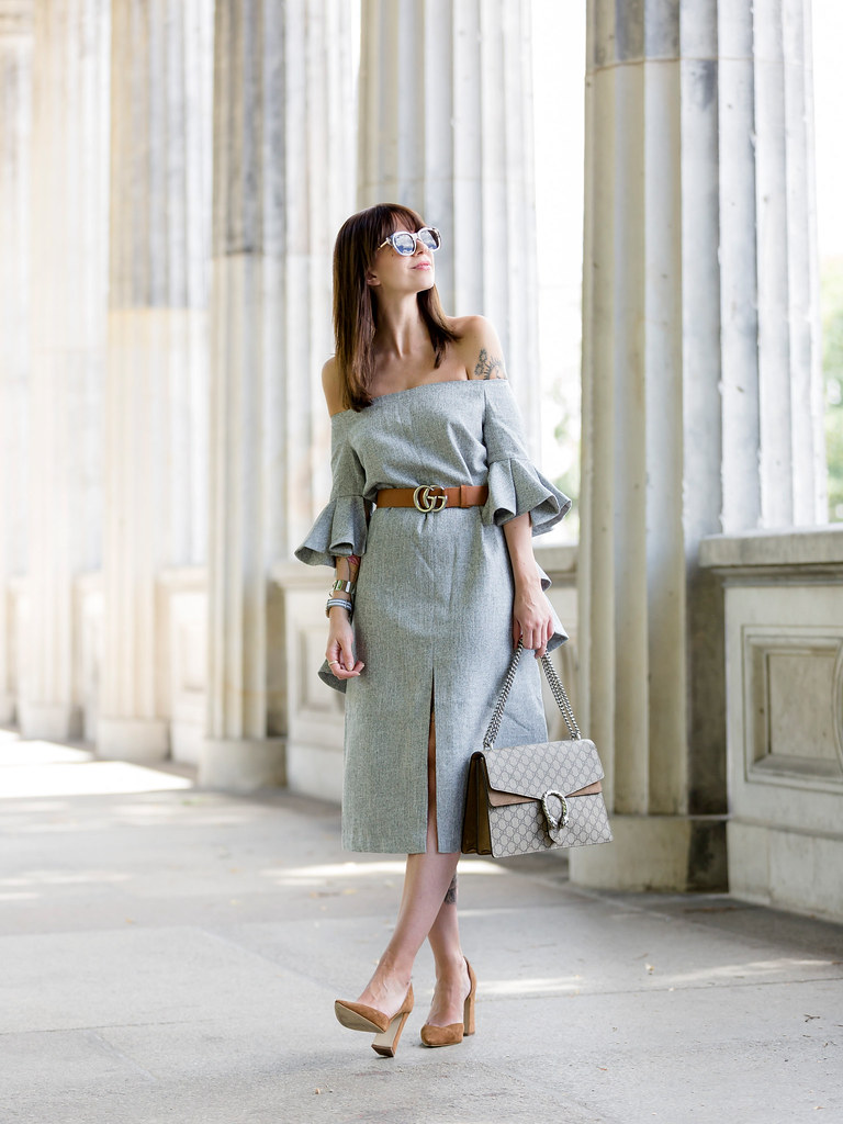 833f7293574c4 ... ootd chicwish grey off-shoulder dress volants chic gucci belt dionysus  bag gg le specs
