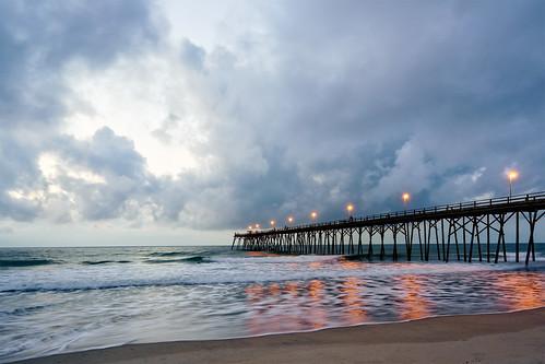 sunrise beach clouds pier fishing kurebeach wilmingtonnc waterfront sand summer