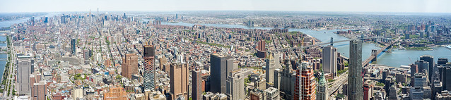 Panoramic view of Manhattan from One World Observatory.