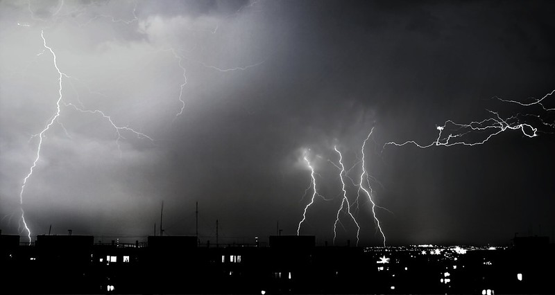 Merged lightning pictures