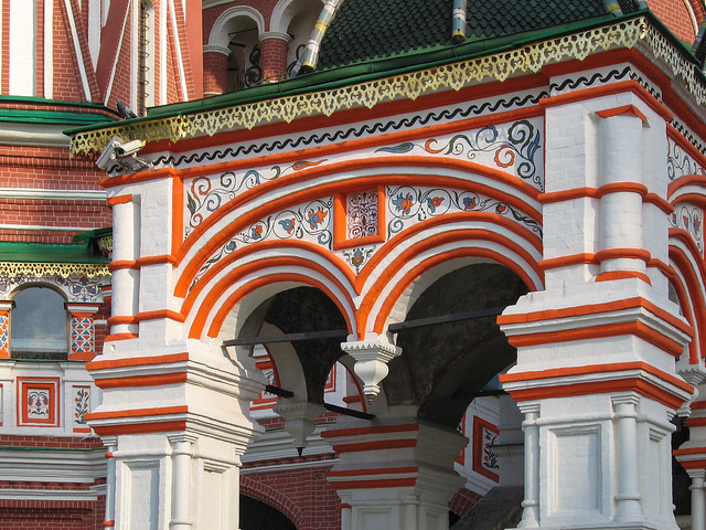 Ornate doorway of St Basil's cathedral  Red Square Moscow