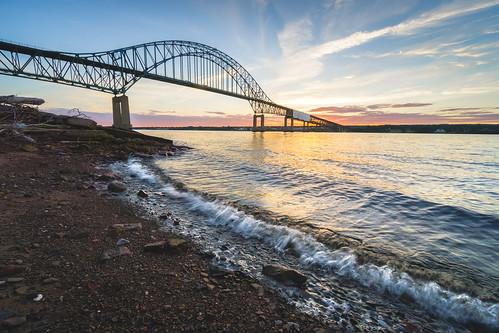 sunset miramichicentennialbridge miramichi miramichiriver newbrunswick canada ca