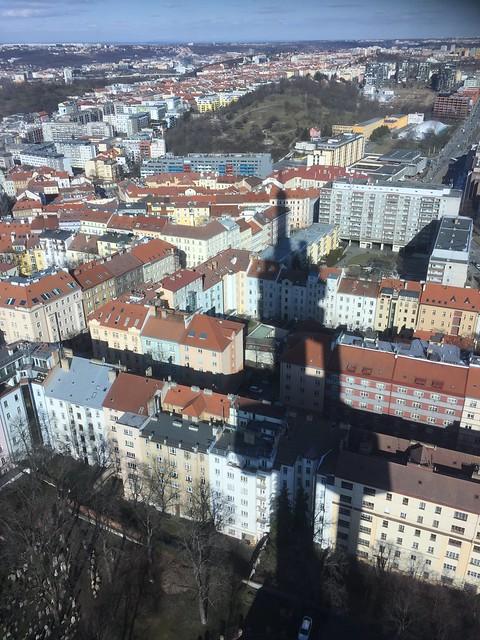 The shadow of Žižkov Television Tower (Žižkovský vysílač), Prague