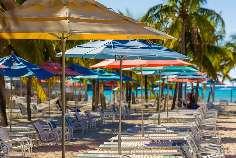 Umbrellas at Castaway Cay