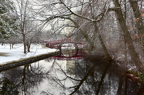 frost snow elmpark water pond worcester cold reflection surface trees park footbridge bridge affinity affinityphoto serif weather davelawler chancyrendezvous blurgasm lawler