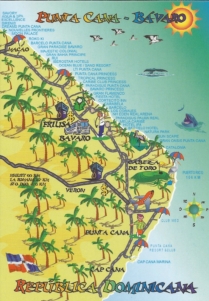 Punta Cana Dominican Republic Map postcard | Erin | Flickr on