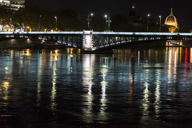Night Fall on the Rhone River, Lyon, France