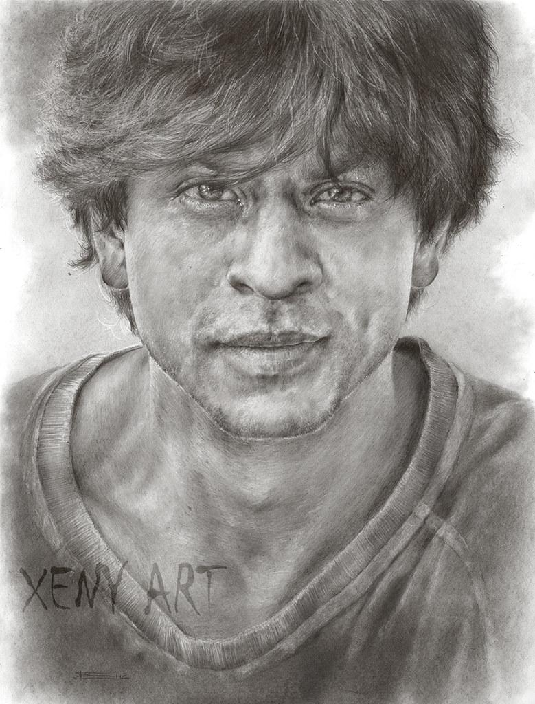 Photorealistic sketch of shah rukh khan pencil drawing xeny art