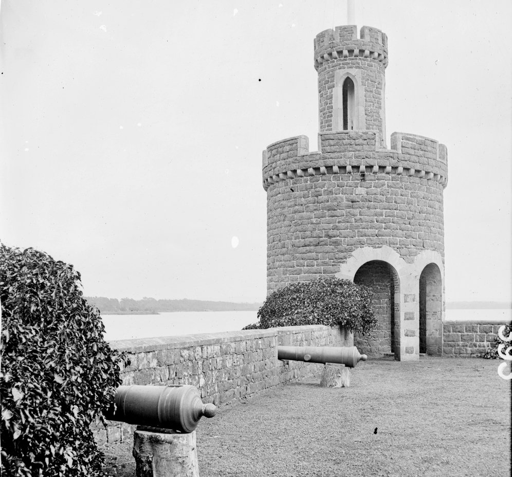 Brick turretted tower