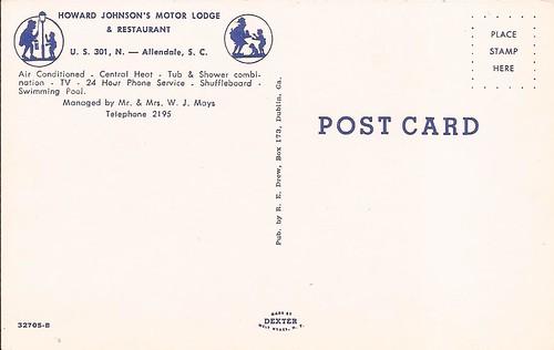 howardjohnsons postcard motel motorlodge