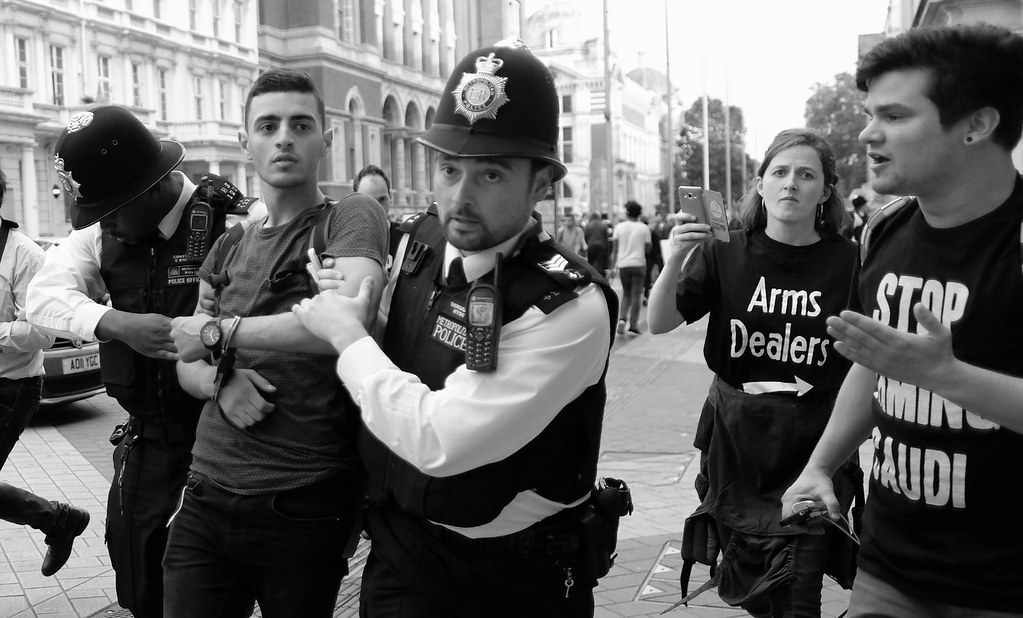 Bahrain activist and torture victim, Isa Al-Aali, arrested outside London's Science Museum where Bahraini arms dealers had been among those invited to a reception.