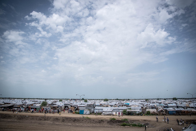 One of the six displacement camps in Malakal, which used to be an important trading town. The camp shelters over 32,000 people. Malakal, once the second-largest town in South Sudan, today bears a desolate look, with most of its erstwhile habitants seeking refuge in the nearby U.N. base. Gateway to the only functioning oil fields in the region, Malakal is strategically placed, and has been one of the main flashpoints in this civil war.
