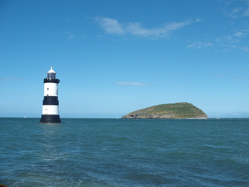 menai puffin island lighthouse straits cymru wales anglesey atlantic ocean