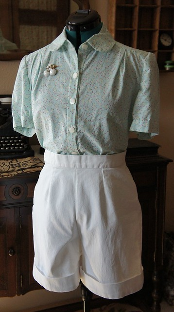 Blouse and 1940s style shorts