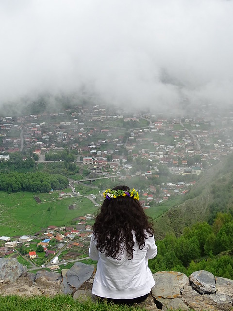 Young Woman Looks over the Valley - From Gergeti Trinity Church - Outside Kazbegi - Georgia