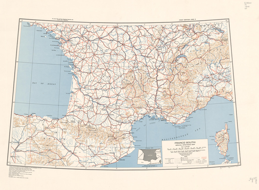 Map Of France South.France South By Army Map Service Year 1943 Scale 1 Flickr