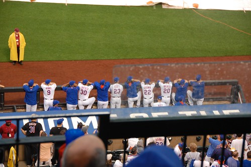 Current Mets watching the ceremony | by Julie Rubes
