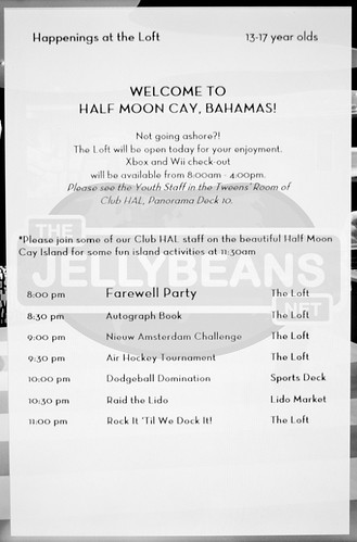 "Holland America Nieuw Amsterdam ""The Loft"" Daily Schedule: 7-Day Eastern Caribbean Apr 6, 2018 