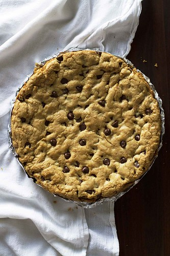 One Giant Soft and Chewy Chocolate Chip Cookie | girlversusdough.com @girlversusdough | by girlversusdough