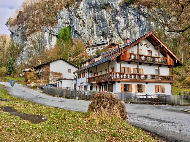 Bavarian style houses under a cliff near Oberaudorf, Bavaria