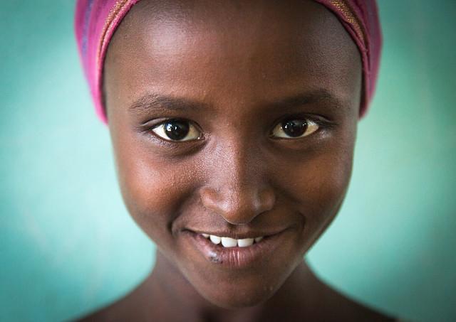 Young afar girl at school, Afar region, Semera, Ethiopia