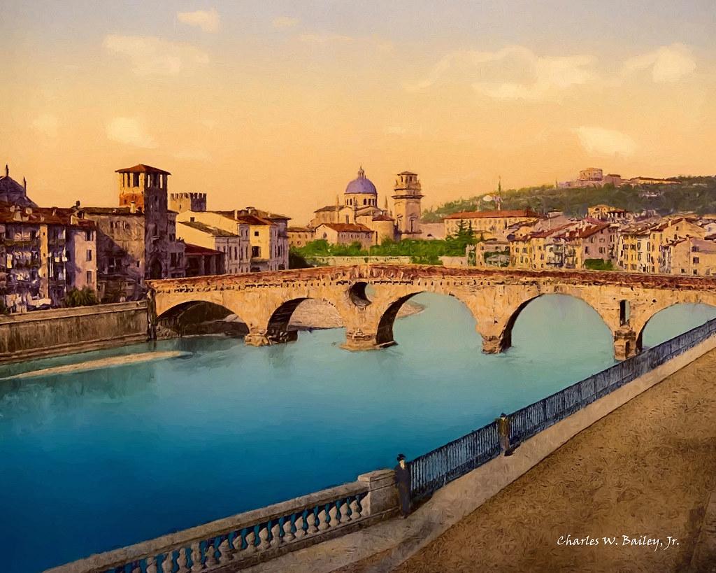 Digital Oil Painting of the Ponte Garibaldi in Verona by Charles W. Bailey, Jr.