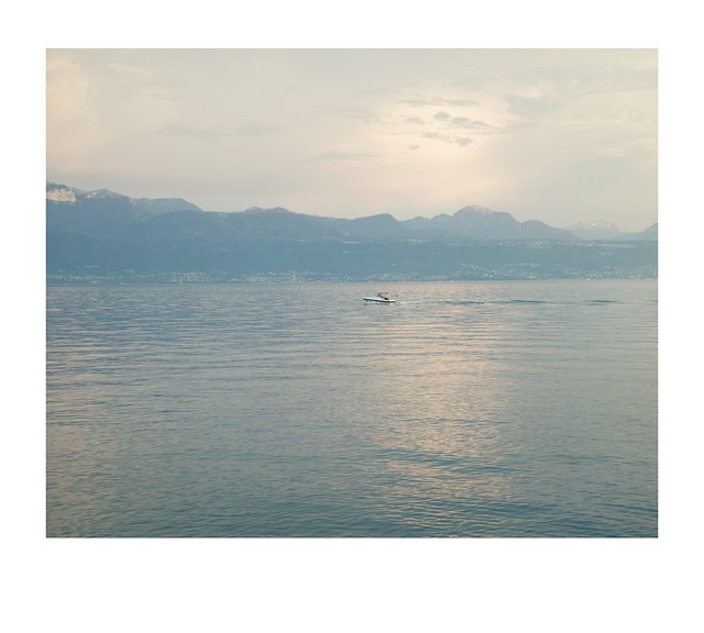 Lake, boats, mountains