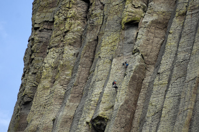 Climbers, Devils Tower, Devils Tower National Monument, Crook County, Wyoming