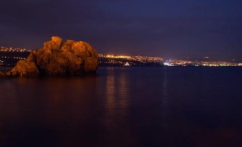 rijeka lights bay gulf kvarner night sky sea rock reflection blue