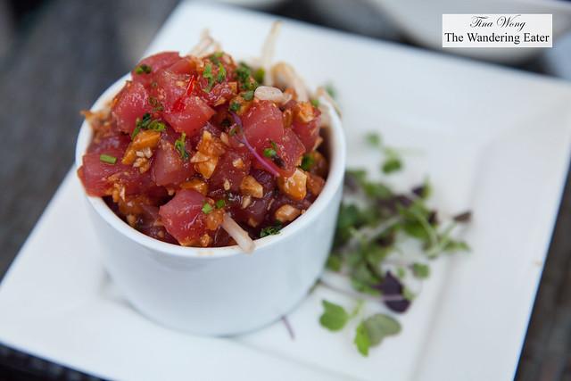 Pacific Yellowfin Ahi tuna tartare, bean spouts, toasted macadamia nuts, green onions, soy sauce & sesame oil
