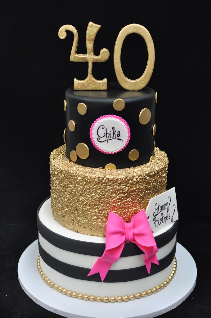 Black, gold and pink 40th birthday cake | Kate spade inspire… | Flickr
