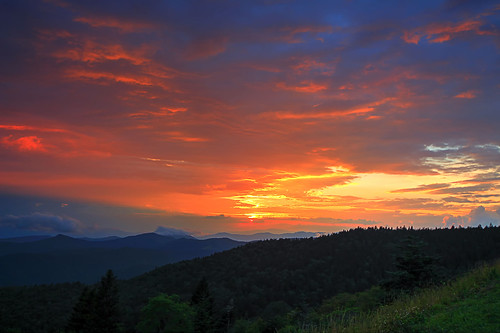 sunset clouds light weather blue ridge parkway north carolina