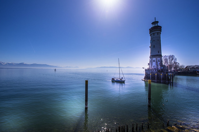 Boat entrance to the port of Lindau - Germany