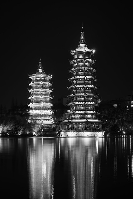 Pagodas in the Tannensee - Guilin, China