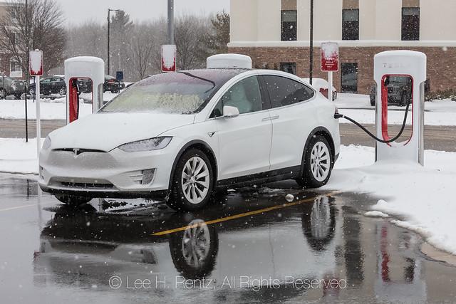 Tesla Model X Recharging during Michigan Winter
