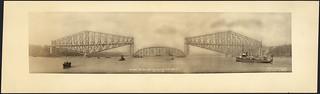 Quebec Bridge, before the fall of the centre span, September 11, 1916 / Le pont de Québec, avant l'effondrement de la travée centrale, 11 septembre 1916