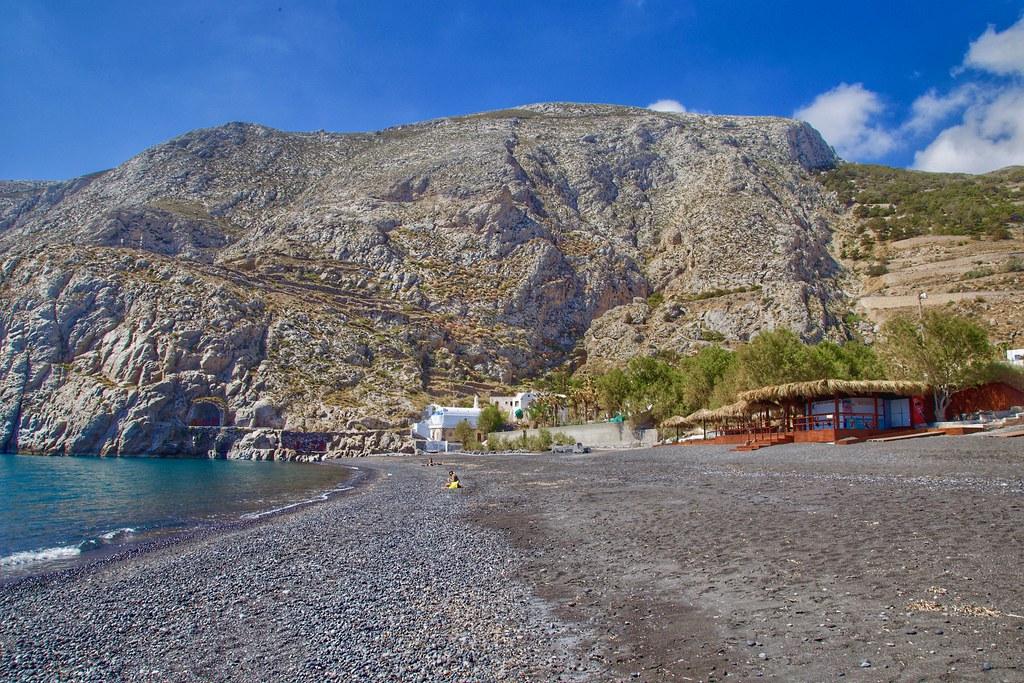 Kamari Black Sand Beach Santorini Greece The Beach Resor