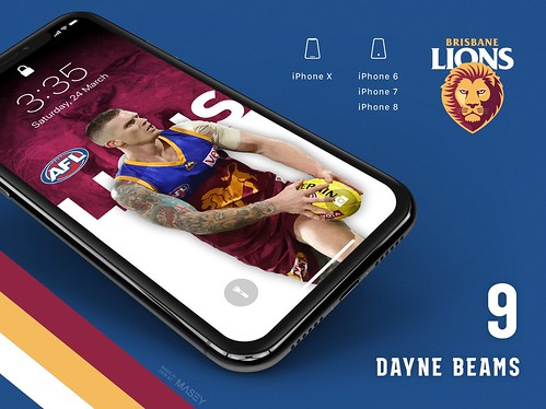#9 Dayne Beams (Brisbane Lions) iPhone Wallpapers | by Rob Masefield (masey.co)