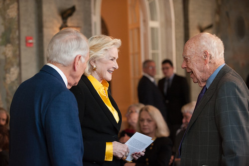 Mr. Jerome LeWine and Gail (Mrs. John) Hilson greet Nobel Laureate James Watson