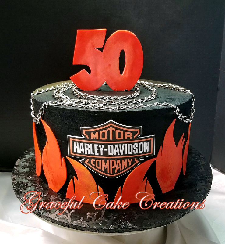 Admirable Harley Davidson 50Th Birthday Cake With Flames And Logo Flickr Funny Birthday Cards Online Elaedamsfinfo